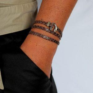 Bracelet cuir femme 3 tours Reptile 3