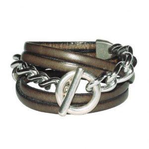 Bracelet cuir Femme Gourmette chaine taupe vintage