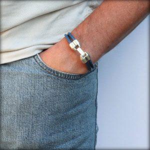 """Bracelet homme cordon cuir surpiqué bleu """"François"""" 2"""