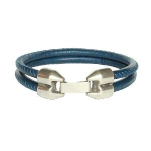 """Bracelet homme cordon cuir surpiqué bleu """"François"""""""