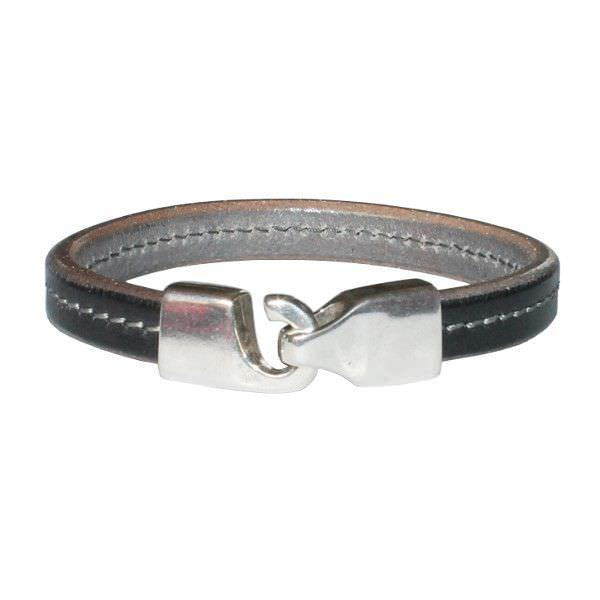 Bracelet homme cuir gris surpiqûre grise