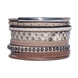 Bracelet cuir femme manchette cuir lanières Savane marron taupe strass 1