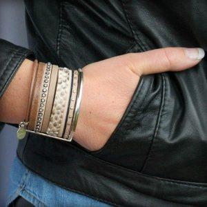 Bracelet cuir femme manchette cuir Savane marron taupe beige strass cuir python 6