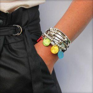 """Bracelet cuir femme manchette cuir multiliens """"Ibiza"""" 4"""