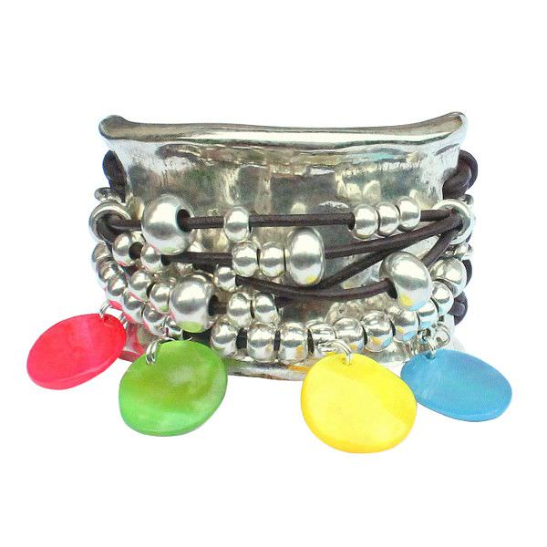 """Bracelet cuir femme manchette cuir multiliens """"Ibiza"""""""
