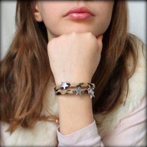 """Bracelet enfant fille cuir à poils """"Léopard"""" étoile 2"""