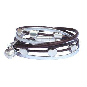 """Bracelet enfant fille cuir multiliens """"Coeur"""" chocolat argenté"""