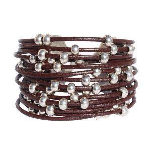 Bracelet cuir femme manchette cuir multi liens Boule