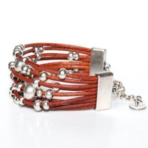 bracelet femme perles perle argenté cordon cuir manchette réglable 2