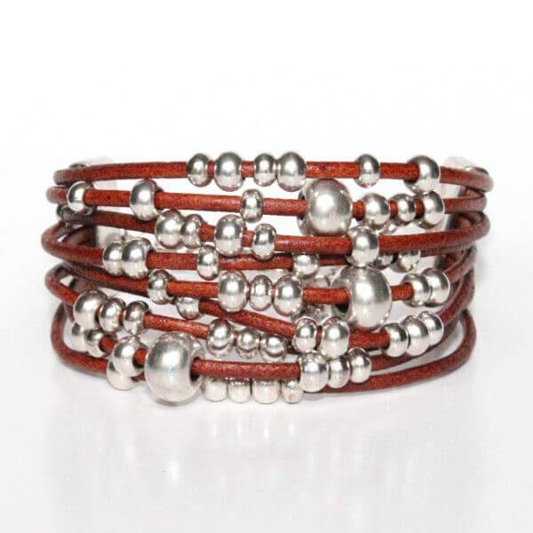 bracelet femme perles perle argenté cordon cuir manchette réglable 1