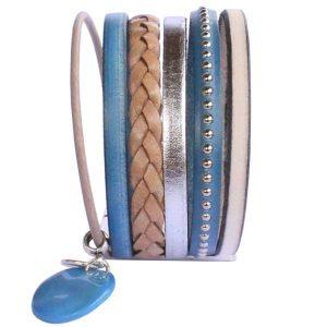 Bracelet manchette cuir femme lanières bleu jean 2