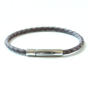 """Bracelet cuir homme tressé gris mat """"Kabbale"""" fermoir acier"""