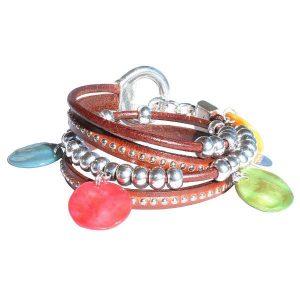 """Bracelet cuir femme """"Rainbow"""" 2 tours lanière cloutée 2"""
