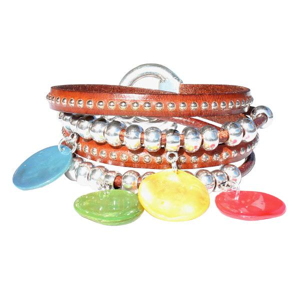 """Bracelet cuir femme """"Rainbow"""" 2 tours lanière cloutée"""