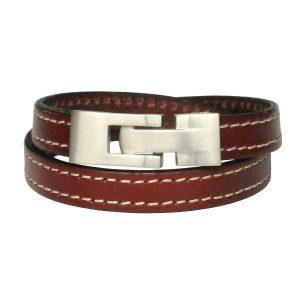 Bracelet homme cuir surpiqué marron fermoir acier