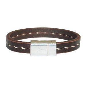 Bracelet homme cuir grosse surpiqure fermoir aimanté chocolat 1