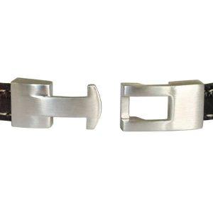 Bracelet homme cuir surpiqué fermoir acier 2
