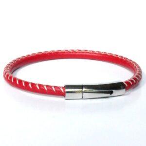 Bracelet homme cuir surpiqué rouge fermoir acier