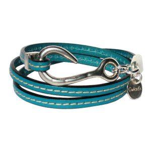 """Bracelet femme cuir """"Hameçon"""" surpiqûre sellier trois tours turquoise foncé"""