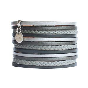 """Bracelet cuir femme manchette lanières tressées grise argenté """"Diva"""" 1"""