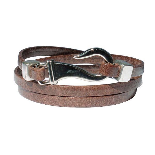 Bracelet homme cuir trois tour fermoir hameçon