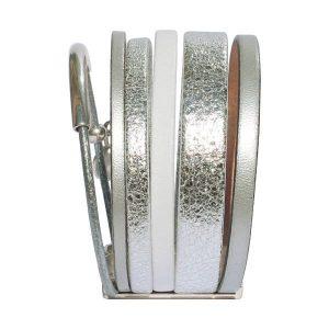 """Bracelet femme cuir manchette argenté """"Silver"""" 2"""