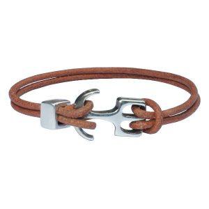 """Bracelet cuir homme cordon cuir """"Ancre"""" camel"""