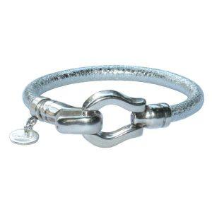 "Bracelet femme cuir argenté silver ""Scarlett"" 1"