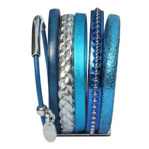 """Bracelet femme cuir manchette bleu électrique """"Clair De Lune"""" 2"""