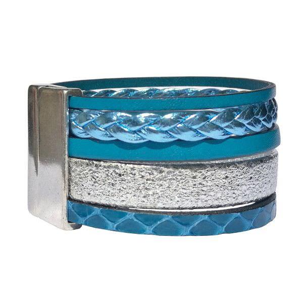 "Bracelet cuir femme manchette bleu canard argenté ""Bord De Mer"" 2"