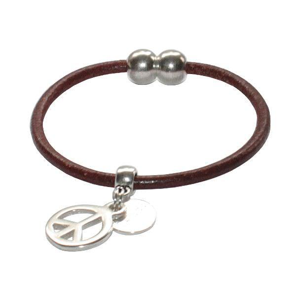 """Bracelet enfant cordon cuir """"Peace And Love"""" 1"""