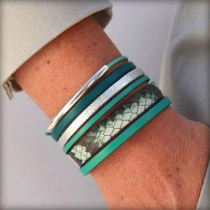 Bracelet femme cuir manchette vert argenté Cayenne 4