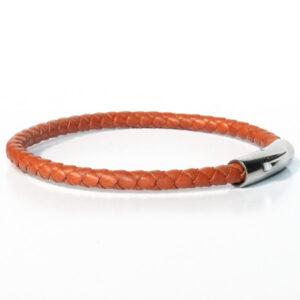 Bracelet homme cuir tressé cognac fermoir acier simple tour 1