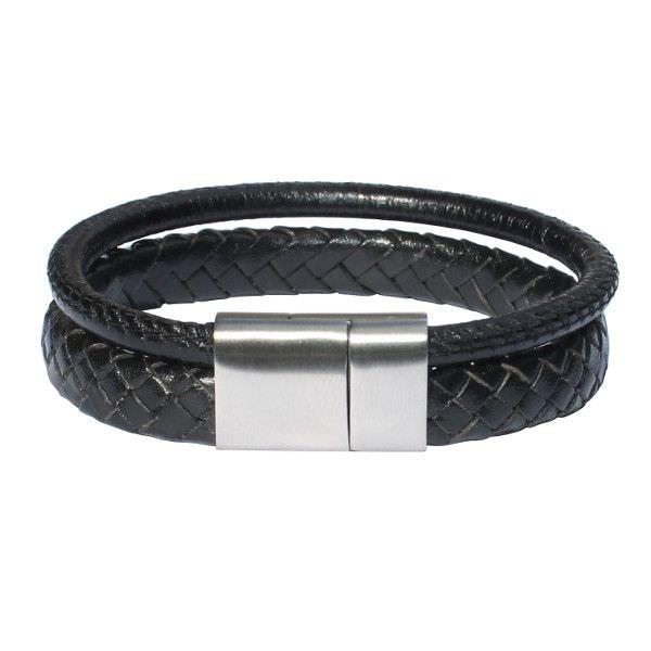 """Bracelet homme cuir tressé noir """"Epure"""" 1"""