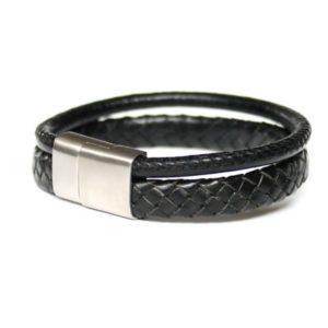 """Bracelet homme cuir tressé et surpiqué noir """"Epure"""" 2"""