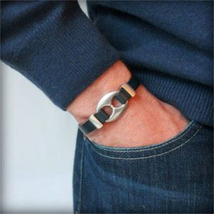 """Bracelet homme cuir denver Bleu Marine """"Grain De Café"""" 4"""