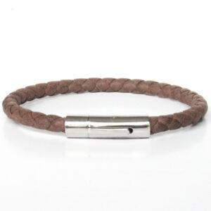 Bracelet homme cuir tressé fermoir acier simple tour marron 1