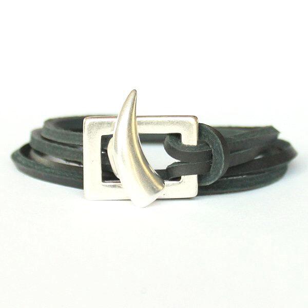 Bracelet cuir homme cordon cuir multitours shark Corne 1