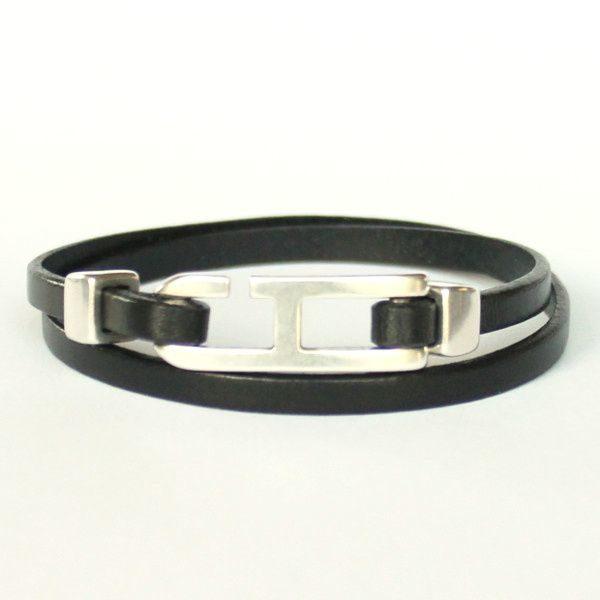 Bracelet cuir homme double tour noir fermoir h 1