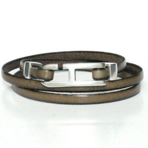 Bracelet homme cuir 3 triple tours fermoir H