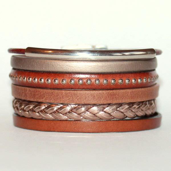 """Bracelet manchette femme cuir marron """"Brown"""""""