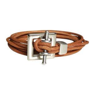 """Bracelet homme cuir cordon 3 tours """"Square"""""""