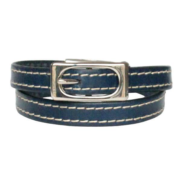 Bracelet femme cuir surpiqué boucle de ceinture bleu marine