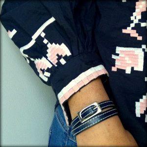 Bracelet femme cuir surpiqué boucle de ceinture bleu marine 3