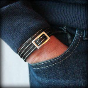 Bracelet homme cuir Boucle de Ceinture cuir surpiqué 4
