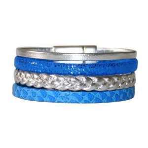 Bracelet enfant fille cuir manchette bleu Electrique 1