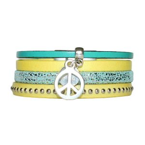 Bracelet enfant fille cuir manchette Peace And Love jaune 1