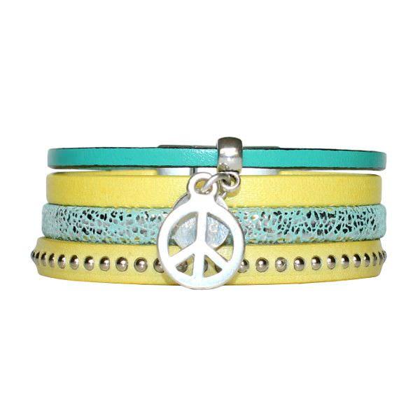Bracelet enfant fille cuir manchette Peace And Love jaune 1