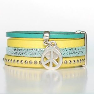 Bracelet enfant fille cuir manchette Peace And Love jaune 2