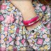 Bracelet enfant fille cuir manchette rose Framboise 6